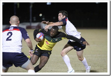 Jamaica's Alex Brown evades a tackle