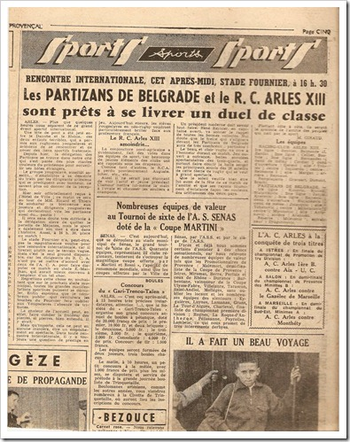 rugby league club partizan 27th May1956