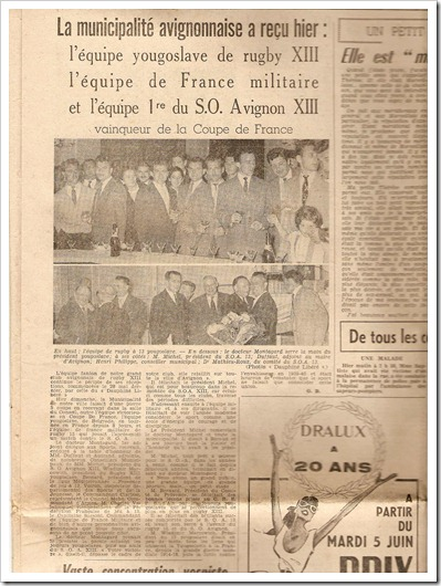 rugby league club partizan 4th june 1956 Avignon