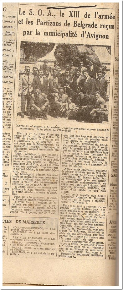 rugby league club partizan 4th june 1956